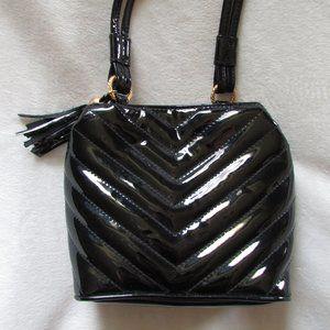 Vintage faux patent leather black crossbody purse